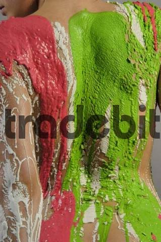 Model covered in coloured plaster, colours of the Italian flag, Paris, France, Europe