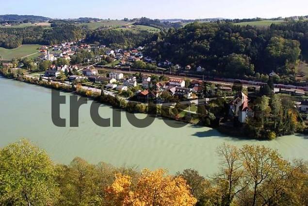 view from Castle Neuburg on the Inn to Wernstein in Austria