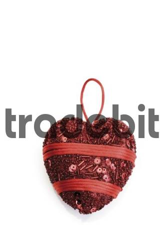 Embroidered red heart ornament