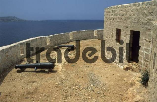 fortress with canons, Comino island, Malta