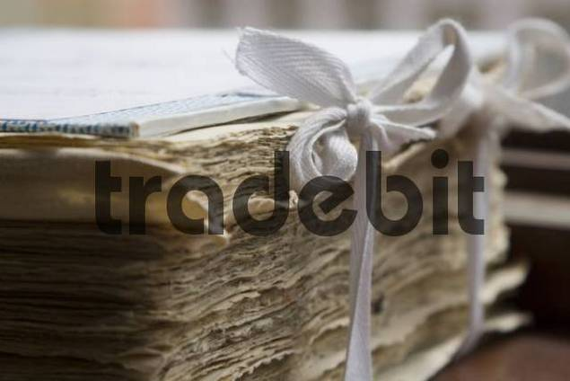 Still life - paper bound with ribbon and bows