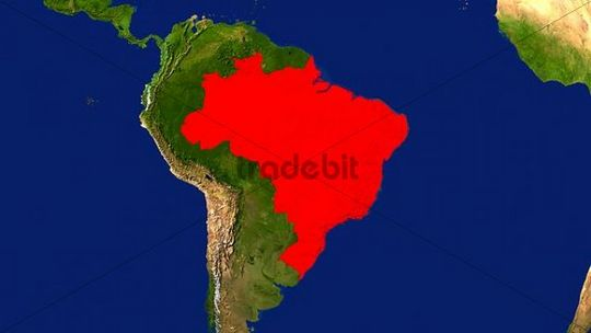 Map, Brazil highlighted red