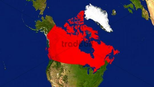 Map, Canada highlighted red