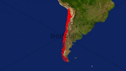 Map, Chile highlighted red