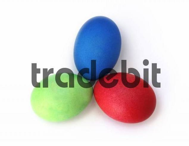 Three dyed Easter eggs