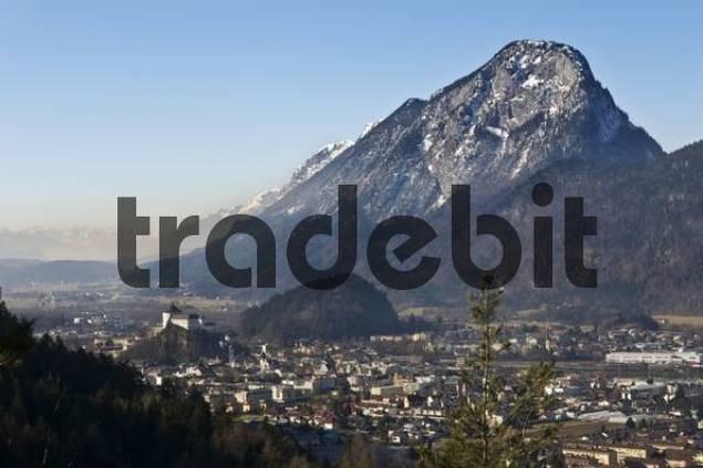 Kufstein and mountain Pendling, Brandenberg Alps, Inn Valley, Tyrol, Austria