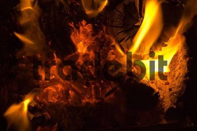 glow of a chimney fire
