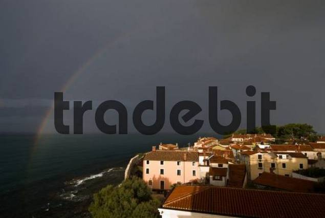 Rainbow over Novigrad in the morning, Istria, Croatia, Europe