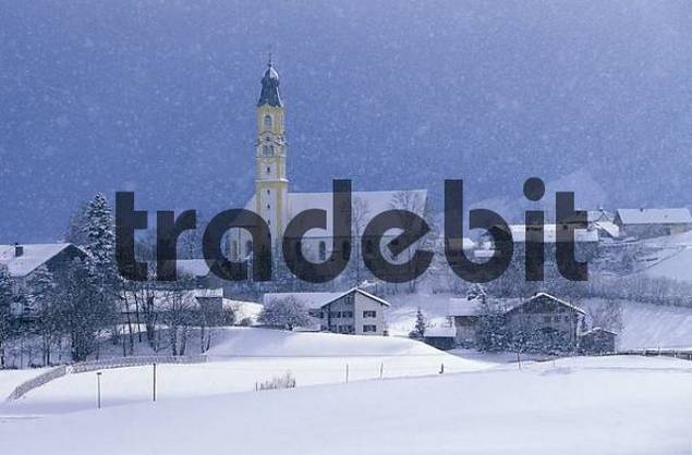 Snow falling over St. Nicholas Church, Pfronten, East Allgaeu, Bavaria, Germany, Europe