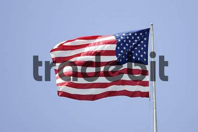 Stars amp Stripes flag, flag of the USA, star spangled banner, Manhattan, New York, USA