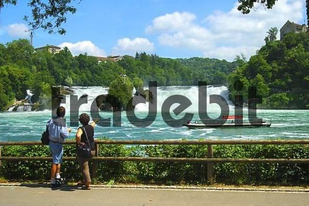 At the roaring Rhine Falls Neuhausen Switzerland