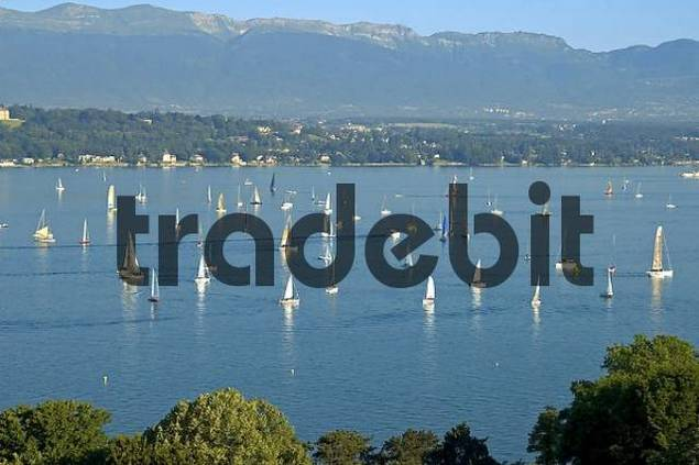 Sailing on Lac Leman on the foot of the Jura mountains Switzerland
