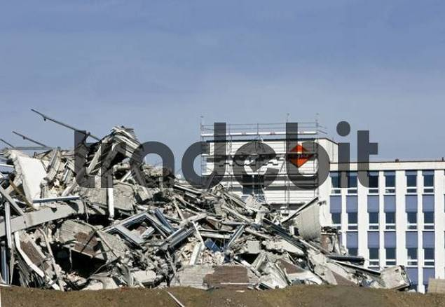 Rubble left in the wake of a demolished AGFA high-rise building, February 2008, Munich, Bavaria, Germany