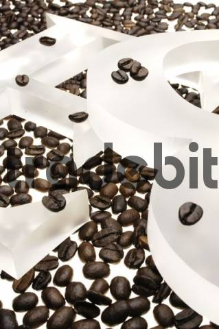 Coffee beans, espresso beans, the letters E and B
