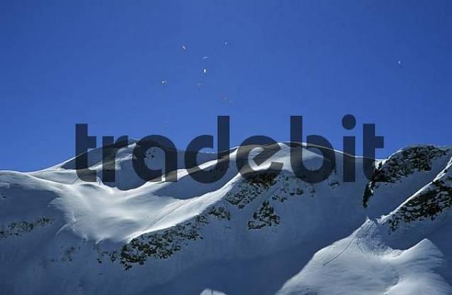 Paragliders over the Falzerkopf in valley Kleinwalser Austria