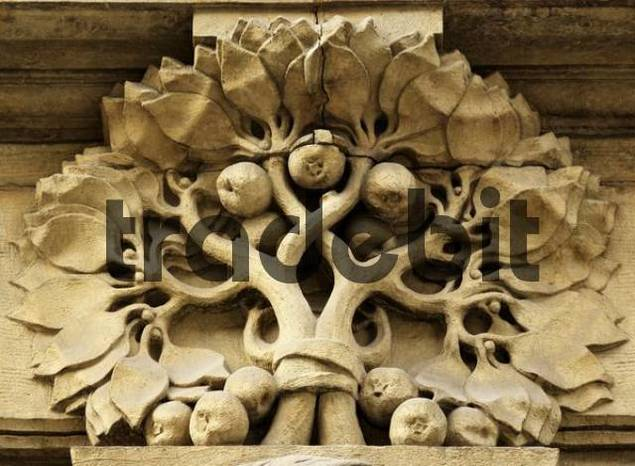 Ornate stonework on old building facade in the old part of Prague, Czech Republic, Europe