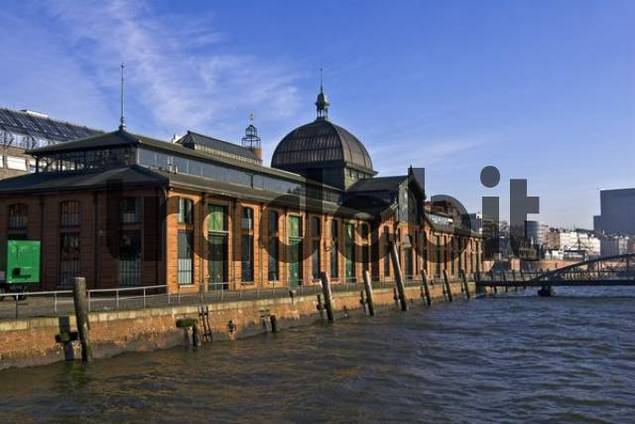 Old fish market hall along the Elbe River converted into an events venue, Hamburg Harbour, Hamburg, Germany