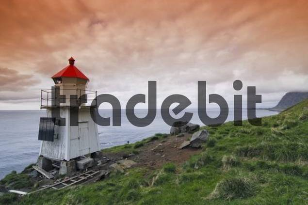 Lighthouse on the coast between Unstad and Eggum, Lofoten, Norway, Europe