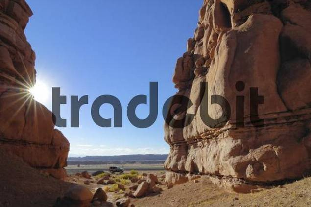 Sandstone formations along Interstate 70 I-70 near Hanksville, Utah, USA
