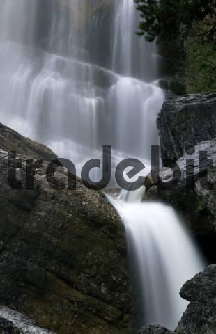 Waterfall, rocks, Kuhflucht Falls, Farchant, Bavaria, Germany, Europe