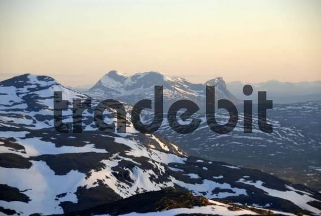 Vast, lonely fell landscape, melting snow, Abisko National Park, Lapland, Sweden
