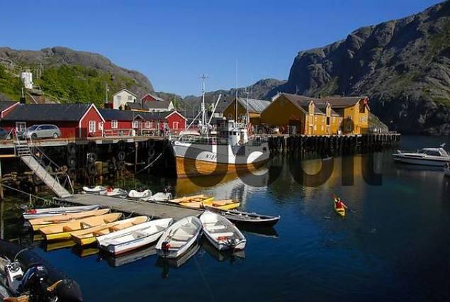 Boats in the picturesque harbour of Nusfjord, Lofoten Archipelago, Norway, Scandinavia