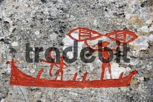 Vikings in a ship, rock painting, rock art at Alta, Norway, Scandinavia