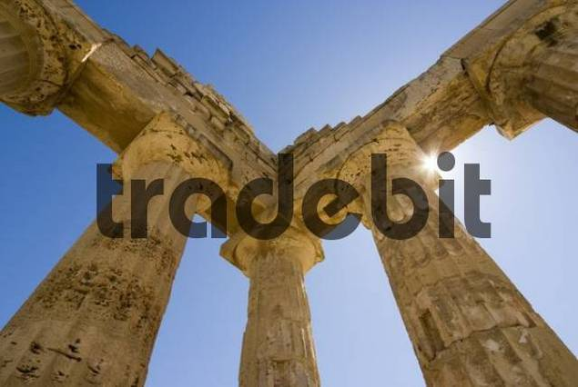 Columns against a blue sky, Tempel E Temple of Hera, Selinunte, Sicily, Italy