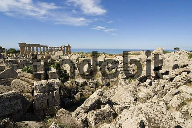 Remaining rubble of Temple G and Temple E, Temple of Hera back, Selinunte, Sicily, Italy