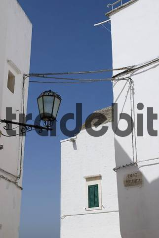 White houses in the historic centre of Locorotondo, Apulia, Italy