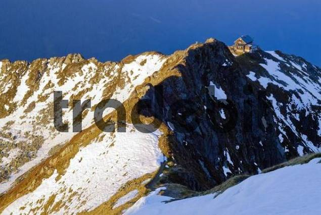 Mountain ridge, snow, Kellerjoch Cabin, Mt. Kellerjoch, Schwaz, Tirol, Austria