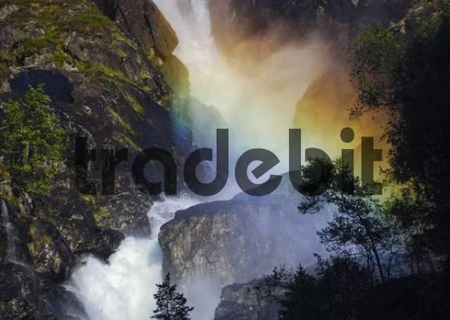 Rainbow over Latefossen or Latefoss Waterfall, Odda, Hordaland, Norway, Scandinavia