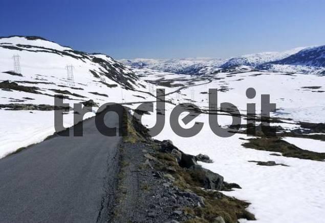Road, Sognefjell Pass, quotGamle Sognefjesvegen, quot Sogn og Fjordane, Norway, Scandinavia