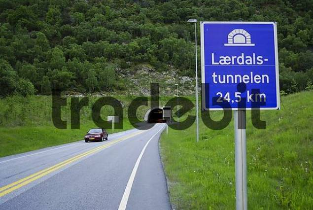 Lrdalstunnelen Laerdal Tunnel, at 24.5 km the worlds longest tunnel, Laerdal, Sogn og Fjordane, Norway, Scandinavia