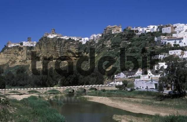 Arcos de la Frontera and the Rio Guadalete Guadalete River, Cdiz Province, Andalusia, Spain