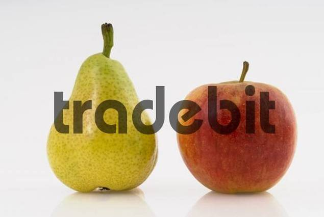 Apple and pear, studio shot - cutout