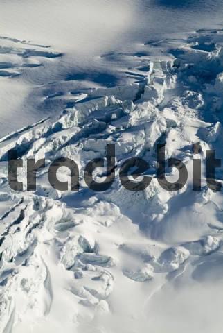 Glacial cracks seen from Mt. Brunnenkogel, Mt. Wildspitze, Oetztal Alps, Tyrol, Austria, Europe