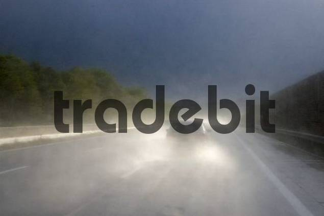 Driving in bad weather on the motorway Autobahn A1 from Vienna to Salzburg, Austria