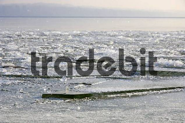 particulate frozen lake Ammersee, Upperbavaria, Bavaria, Germany