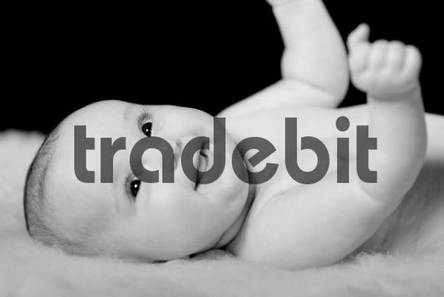 Smiling four-month-old baby