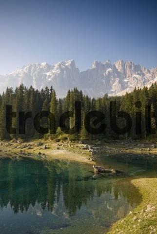 Lago di Carezza Lake, Latemar Group, Bolzano-Bozen, Alto Adige, Italy