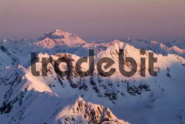 Mt. Glockturm seen from Brunnenkogel, Oetztal Alps, Tyrol, Austria, Europe