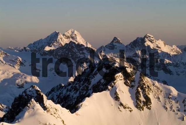 Mt. Weissseespitze and Mt. Karlesspitze seen from Mt. Brunnenkogel, Oetztal Alps, Tyrol, Austria, Europe
