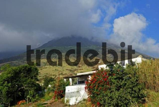 View of the active volcano on Stromboli Island, Aeolian Archipelago, Southern Italy