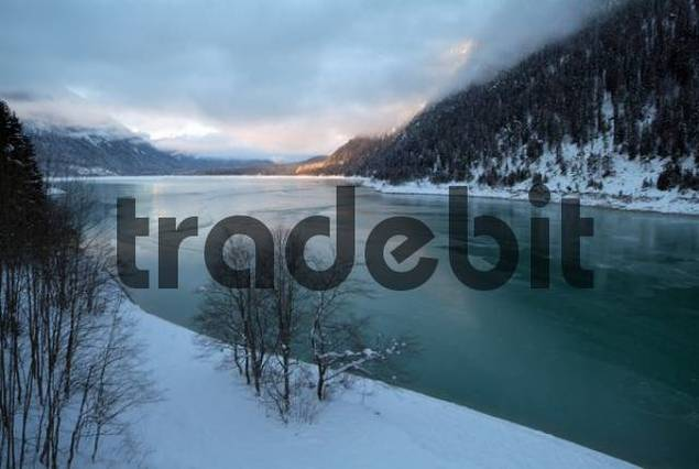 Lake Sylvensteinsee, Bavarian Alps, Bavaria, Germany, Europe