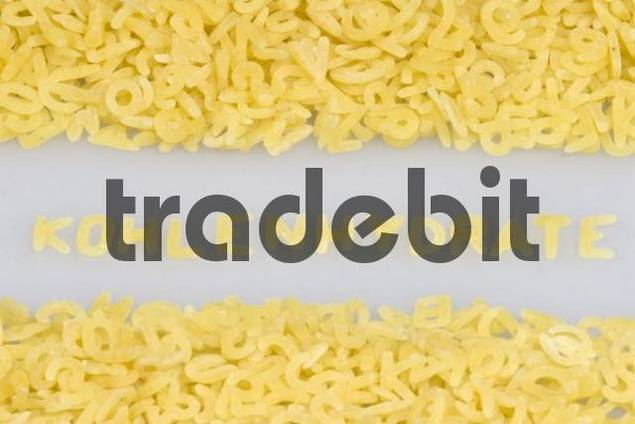 quotKohlenhydratequot carbohydrates written in noodle letters, pasta alphabet