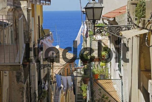Steep street going down to the sea in the town of Pizzo, Calabria, Southern Italy
