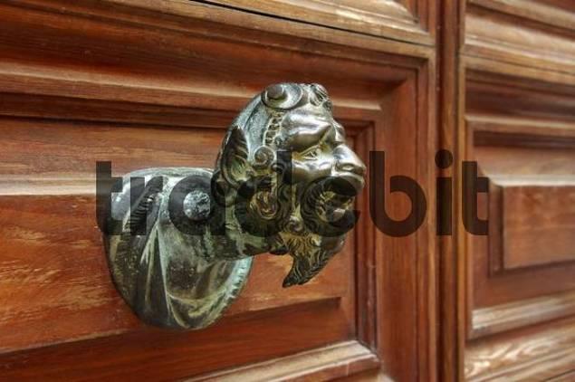 Doorknob, bronze head, Venice, Venetia, Italy