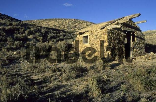 old cabin on the historic Pony Express Trail, Nevada, USA