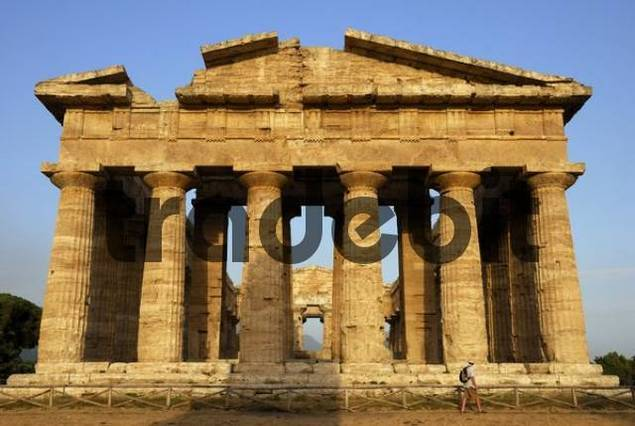 Ruins of Greco-Roman architecture, Paestum, Province of Salerno, Campania, Southern Italy